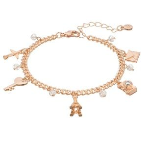 Lauren Conrad Rose Gold Tone Travel Charm Bracelet